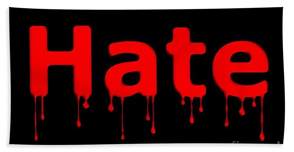 Anger Beach Towel featuring the digital art Hate Bllod Text Black by Henrik Lehnerer