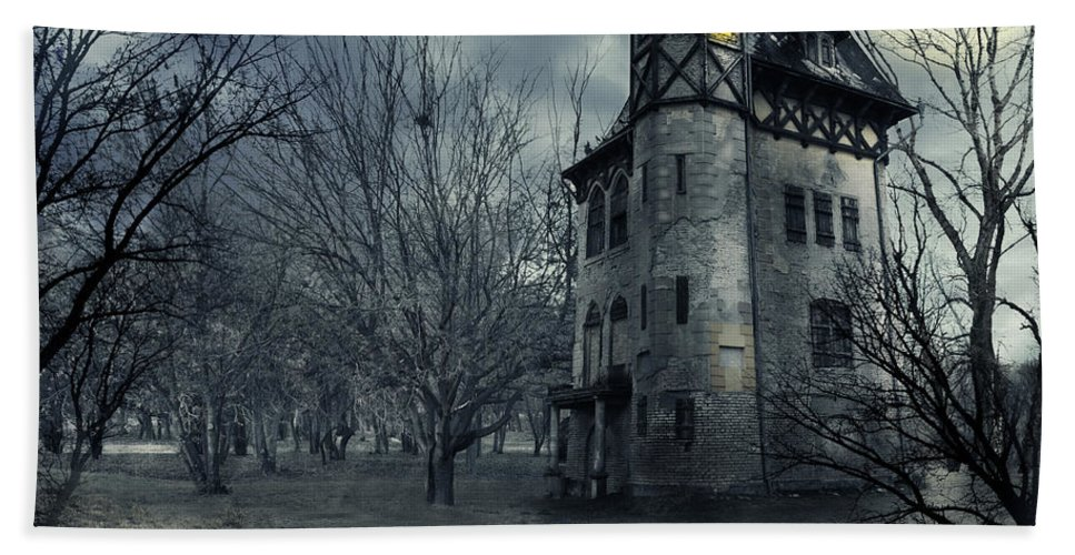 House Beach Towel featuring the photograph Haunted house by Jelena Jovanovic
