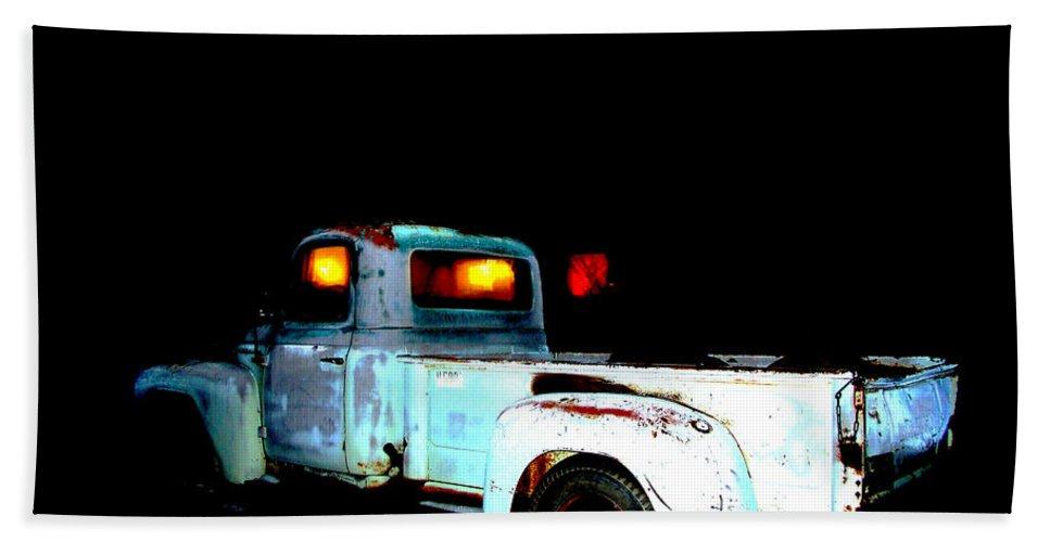 Digital Art Beach Towel featuring the digital art Haunted Truck by Cathy Anderson