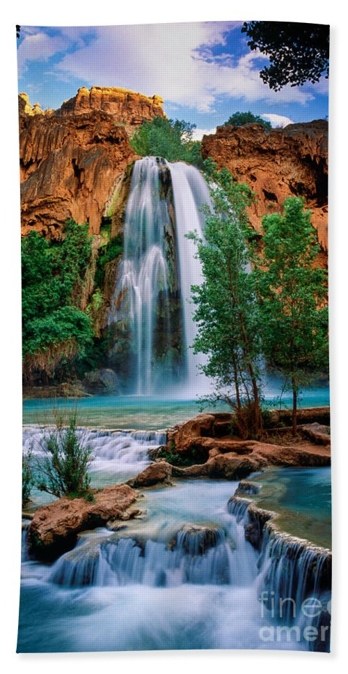 America Beach Towel featuring the photograph Havasu Cascades by Inge Johnsson