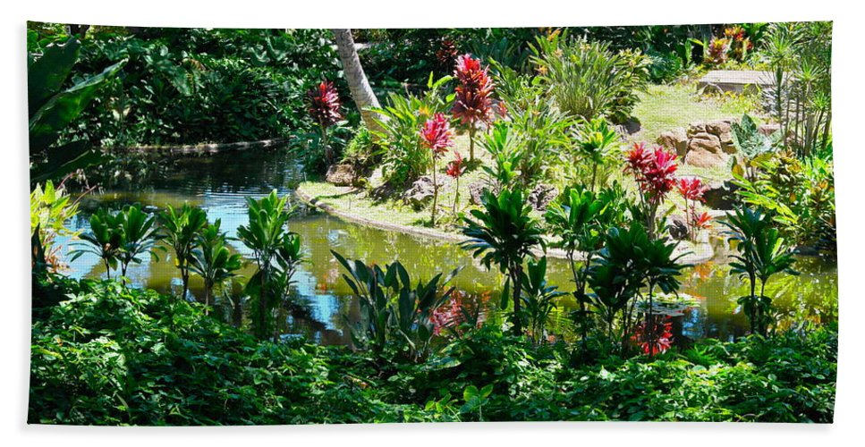 Hawaiian Garden Beach Towel featuring the photograph Hawaiian Cultural Garden Honolulu Airport by Michele Myers