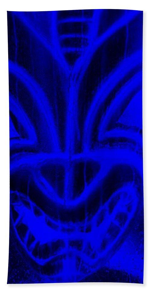 Polynesian Beach Towel featuring the photograph Hawaiian Mask Negative Violet Blue by Rob Hans