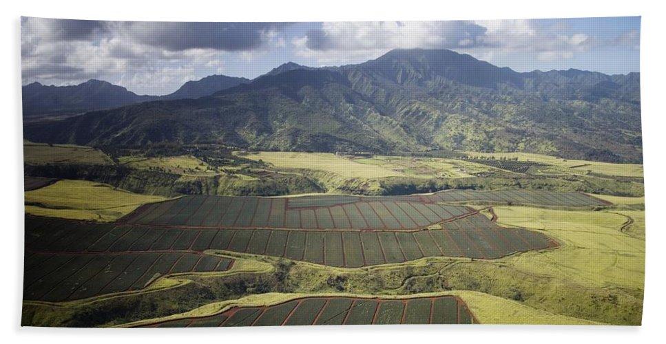 Carol Highsmith Beach Towel featuring the digital art Hawaiian Pineapple Fields by Carol Highsmith