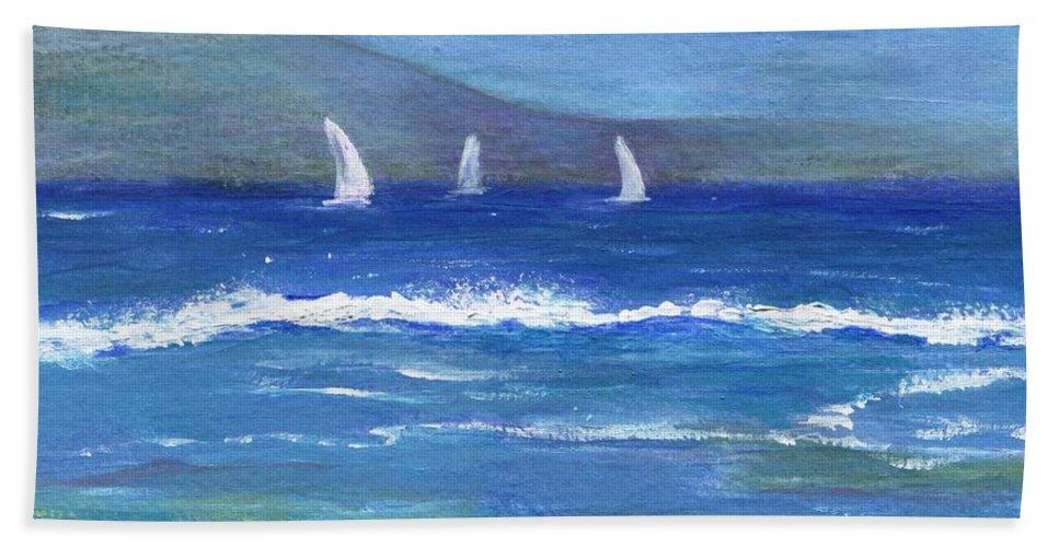 Sailboats Beach Towel featuring the painting Hawaiian Sail by Jamie Frier