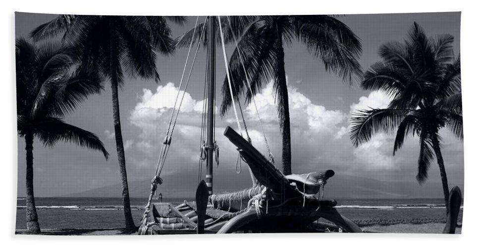 Aloha Beach Towel featuring the photograph Hawaiian Sailing Canoe Maui Hawaii by Sharon Mau