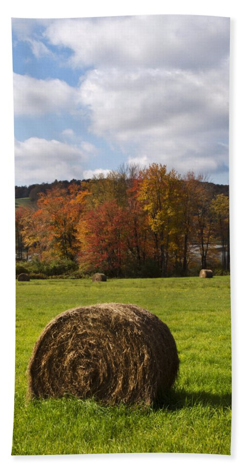 Fall Beach Towel featuring the photograph Hay Bale In Country Field by Christina Rollo
