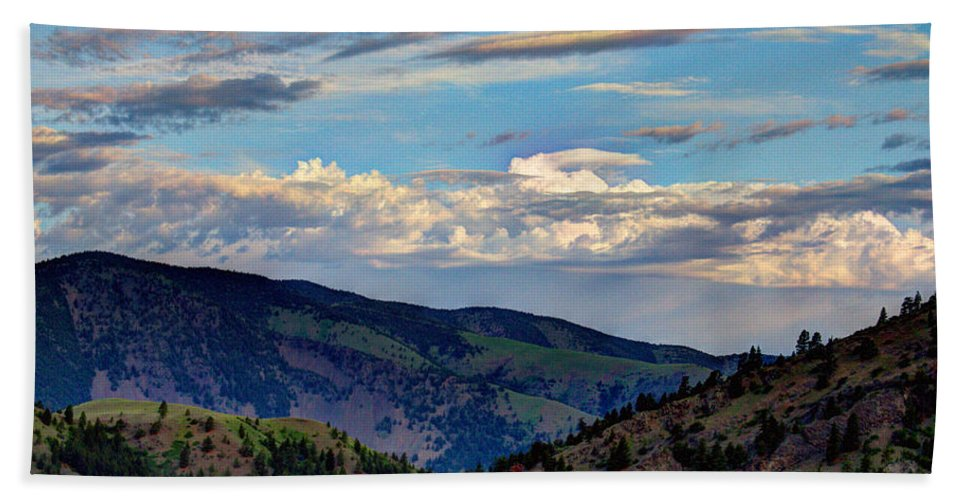 Hazy Beach Towel featuring the photograph Haze Overlooking Holter by John Lee