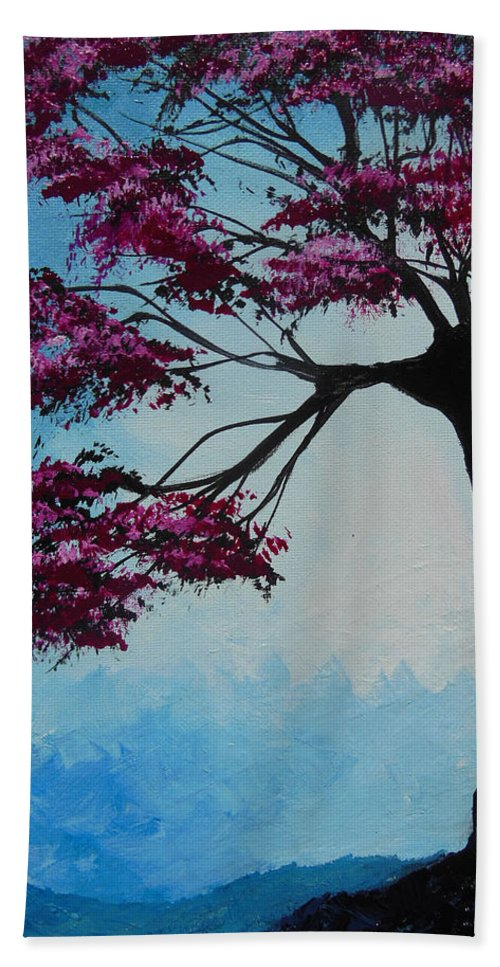 Lonely Tree Beach Towel featuring the painting He Sees Me In The Dark by Dan Whittemore