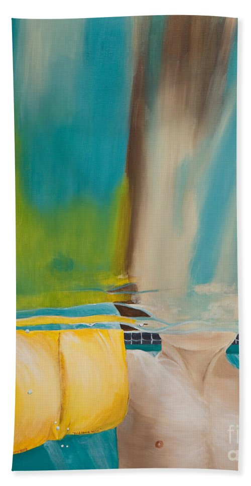 Waterwings Beach Towel featuring the painting Head Above Water by Linda Queally