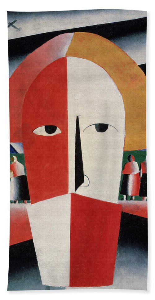 Head; Face; Peasant; Pesants; Worker; Workers; Working; Proletariat; Aeroplane; Aeroplanes; Airplane; Airplanes; Plane; Planes; Stylised; Primitive; Geometry; Geomtetric; Cubo-futurism; Cubo-futurist; Suprematist; Suprematism;black Beach Towel featuring the painting Head Of A Peasant by Kazimir Malevich