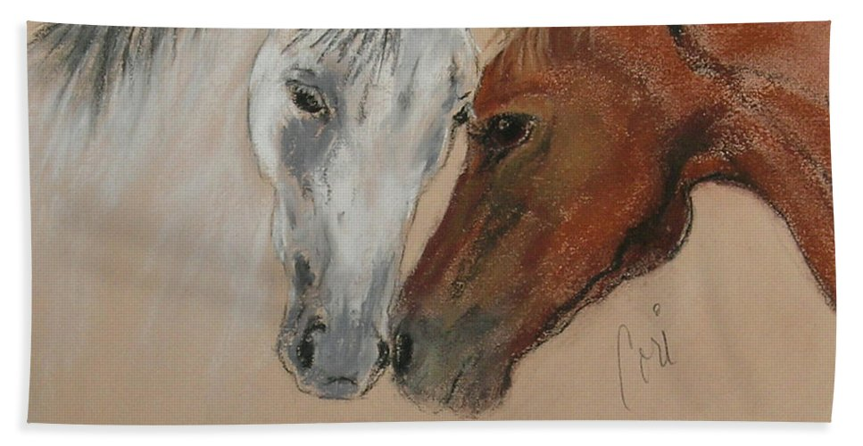 Horse Beach Towel featuring the drawing Head To Head by Cori Solomon