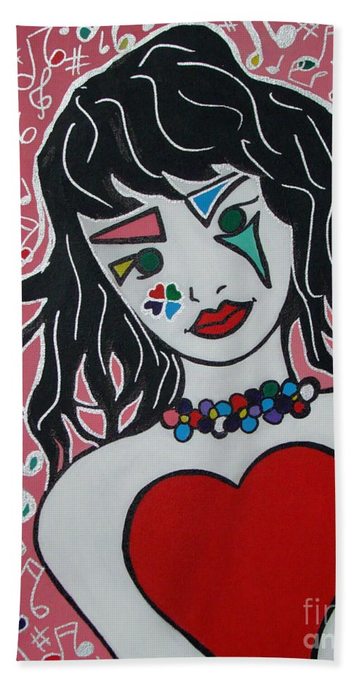 Pop-art Beach Towel featuring the painting Heart Bit by Silvana Abel