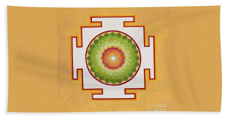Mandala Beach Towel featuring the painting Heart Chakra by Mayki Wiberg