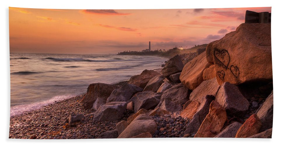 Beach Beach Towel featuring the photograph Heart Face Rock by Peter Tellone
