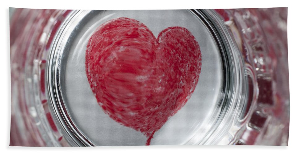 Heart Beach Towel featuring the photograph Heart In Mug Abstract 1 B by John Brueske