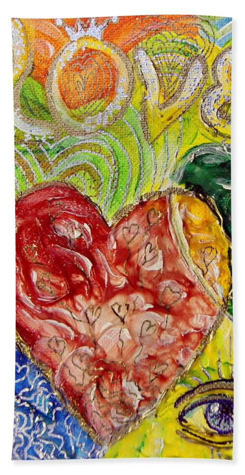 Beach Towel featuring the painting Heart To Heart G by Gideon Cohn