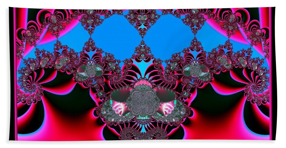 Hearts Beach Towel featuring the digital art Hearts Ballet Curtain Call Fractal 121 by Rose Santuci-Sofranko