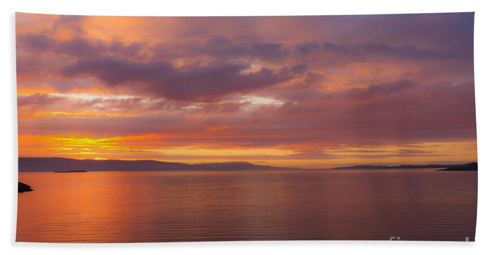 Water Beach Towel featuring the photograph Heavenly Fire by Heiko Koehrer-Wagner