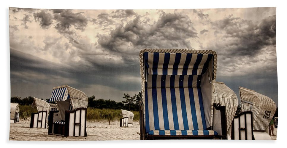 Ostsee Strand Sea Water Weather Clouds Strandkorb Stormy Thunderstorm Heavy Meer Sonne Urlaub Wasser Beach Towel featuring the photograph Heavy Times by Steffen Gierok