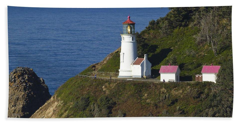 Heceta Beach Towel featuring the photograph Heceta Head Lighthouse 2 G by John Brueske