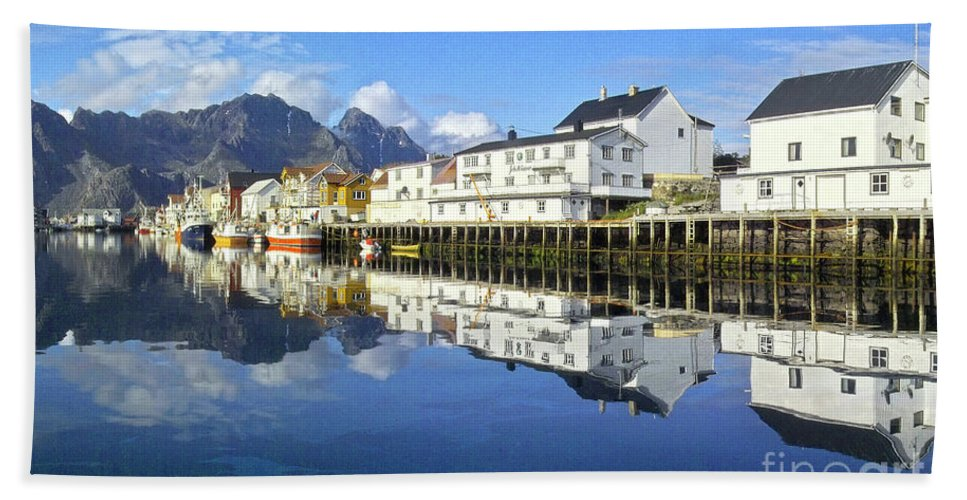 Heiko Beach Towel featuring the photograph Henningsvaer Harbour by Heiko Koehrer-Wagner