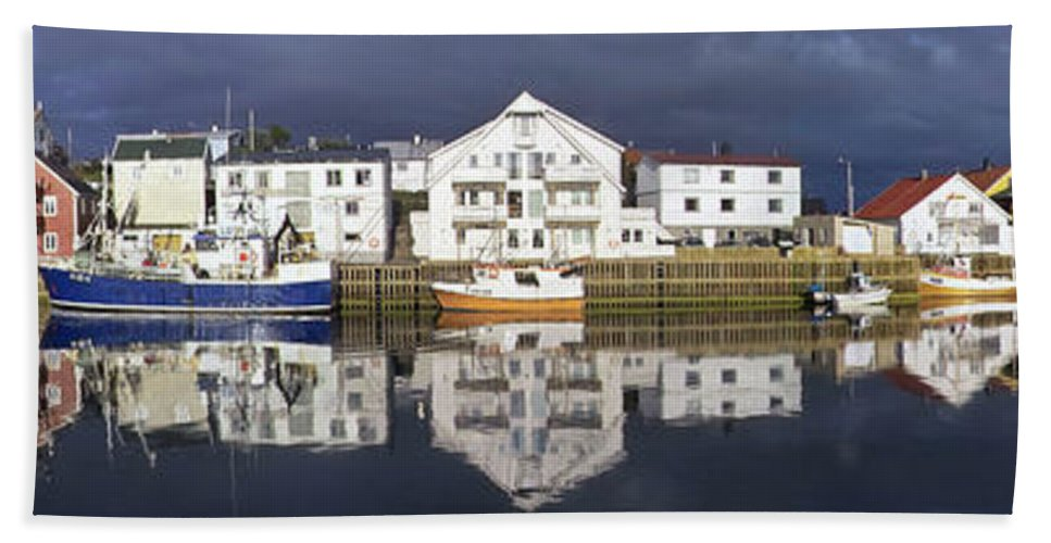 Europe Beach Towel featuring the photograph Henningsvaer Panoramic View by Heiko Koehrer-Wagner