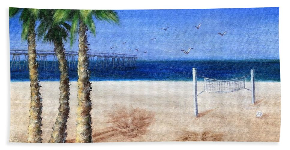 Palm Beach Towel featuring the painting Hermosa Beach Pier by Jamie Frier