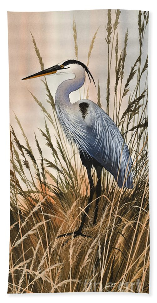 Heron Beach Towel featuring the painting Heron In Tall Grass by James Williamson