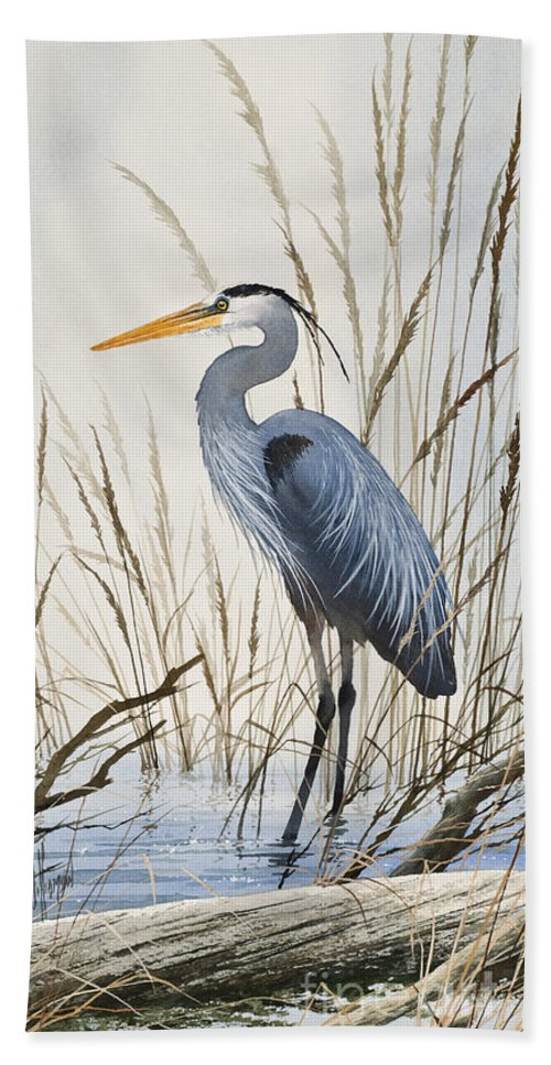 Heron Beach Towel featuring the painting Herons Natural World by James Williamson