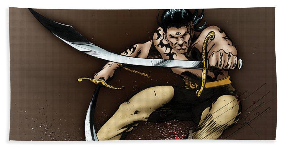 Usherwood Beach Sheet featuring the digital art Hhu'manni Warrior by James Kramer
