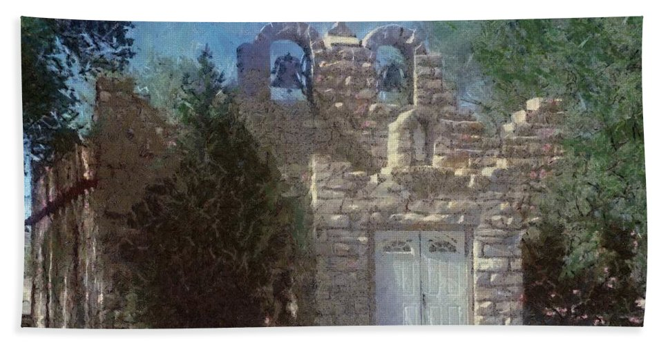 Architecture Beach Towel featuring the painting High Desert Church by Jeffrey Kolker