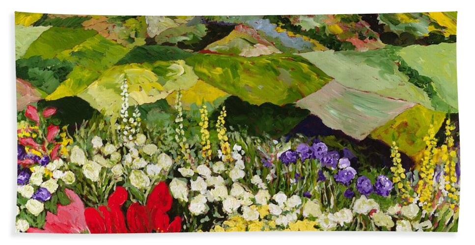 Landscape Beach Towel featuring the painting High Mountain Patch by Allan P Friedlander