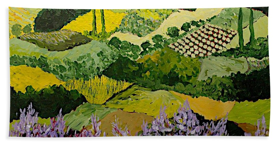Landscape Beach Sheet featuring the painting High Ridge by Allan P Friedlander