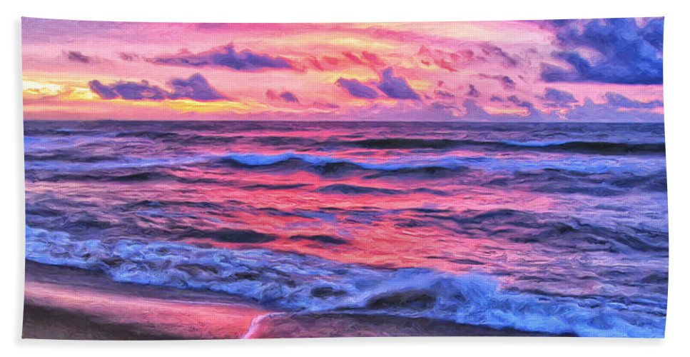 High Tide Beach Towel featuring the painting High Tide At San Onofre by Dominic Piperata