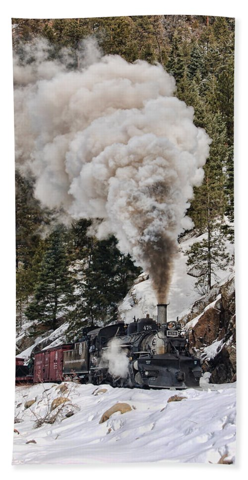 Steam Train Beach Towel featuring the photograph Highball Through Cascade Canyon by Ken Smith