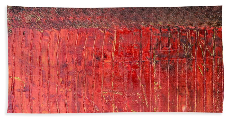 Abstract Expressionism Beach Towel featuring the painting Highway Series - Cranberry Bog by Michelle Calkins