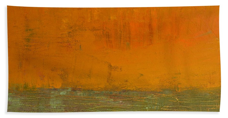 Abstract Expressionism Beach Towel featuring the painting Highway Series - Grasses by Michelle Calkins