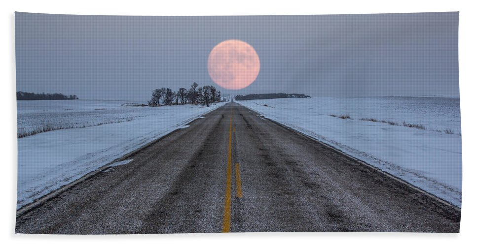 Road To Nowhere Beach Towel featuring the photograph Highway To The Moon by Aaron J Groen
