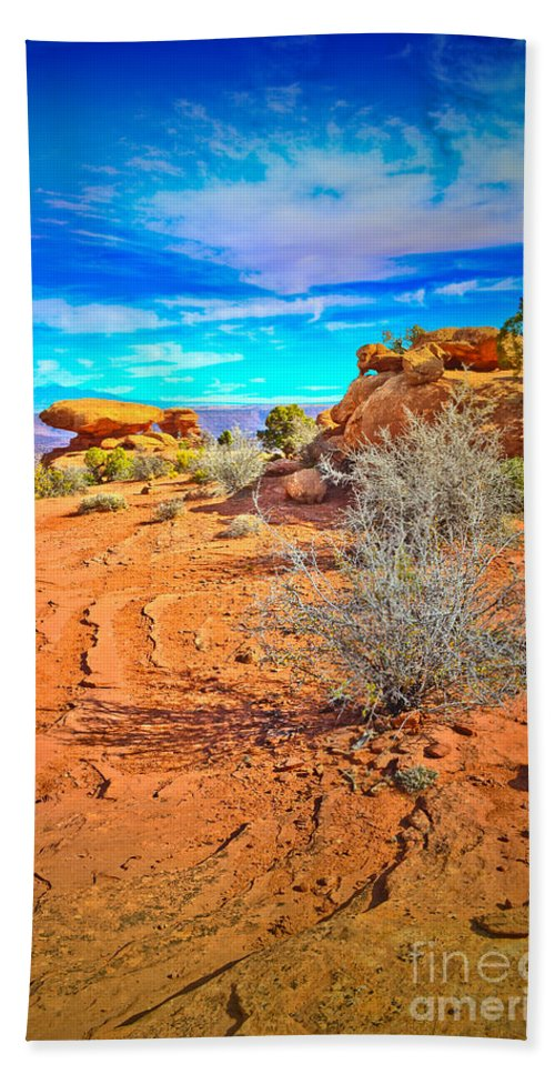 Clouds Beach Towel featuring the photograph Hiking In Canyonlands by Tara Turner