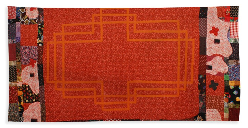 Quilt Fabric Sewn Orange Patchwork Quilted Pattern Original White Birds Red-orange Beach Towel featuring the tapestry - textile Hildegard by Nancy Mauerman