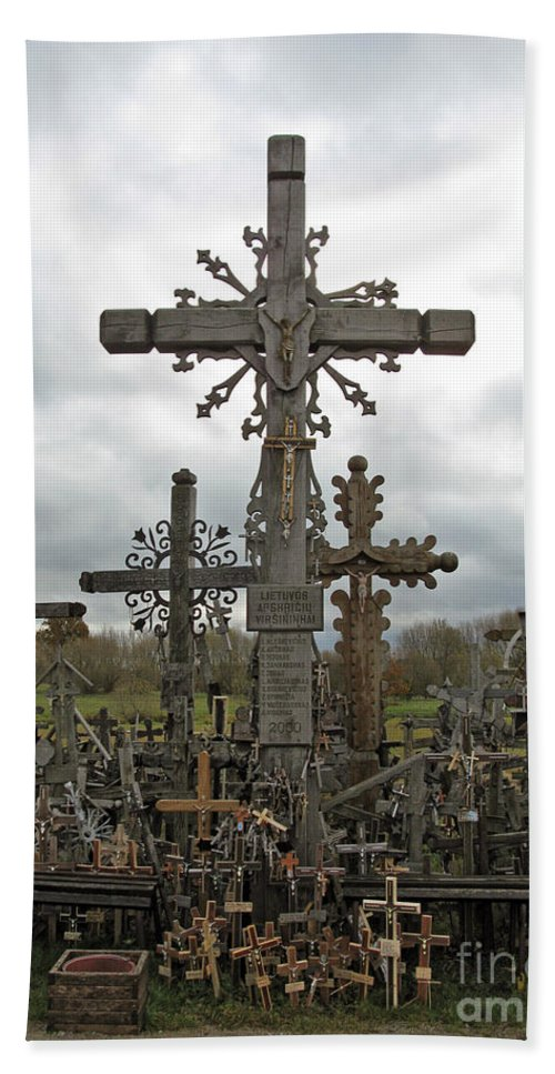 Lithuania Beach Towel featuring the photograph Hill Of Crosses 06. Lithuania. by Ausra Huntington nee Paulauskaite