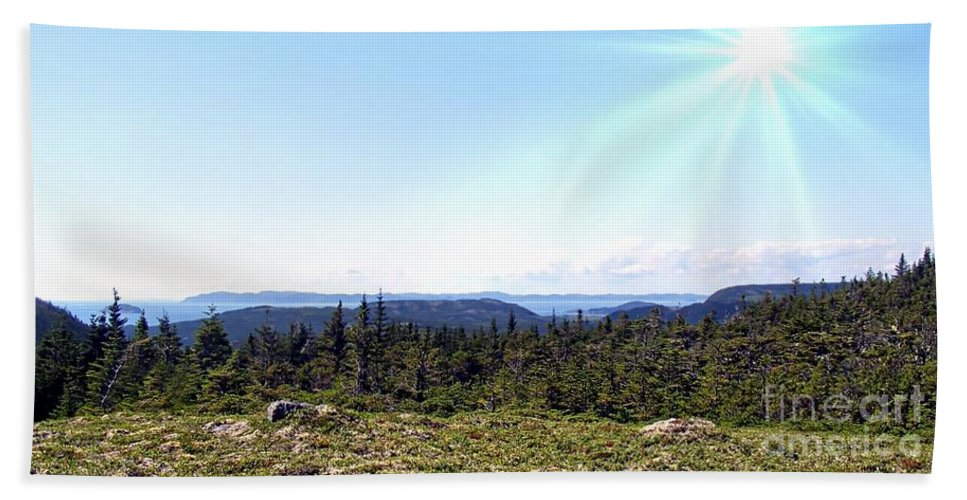 Barbara Griffin Beach Towel featuring the photograph Hill View - Summer - Berry Picking Barrens by Barbara Griffin