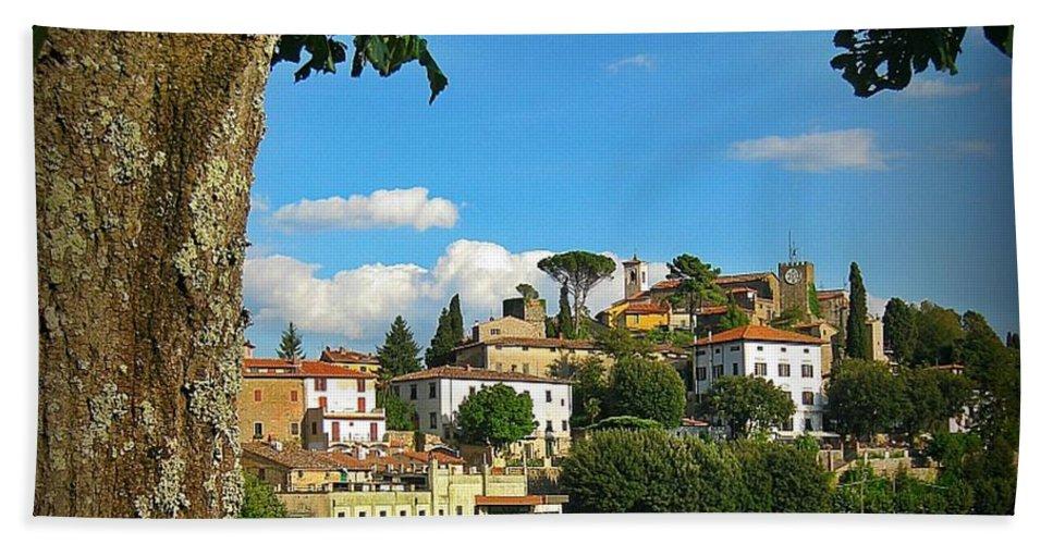Hillside Tuscan Village Beach Towel featuring the photograph Hillside Tuscan Village by John Malone