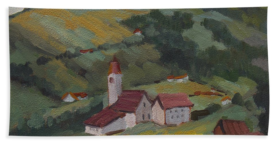 Hilltop Beach Towel featuring the painting Hilltop Village Switzerland by Diane McClary