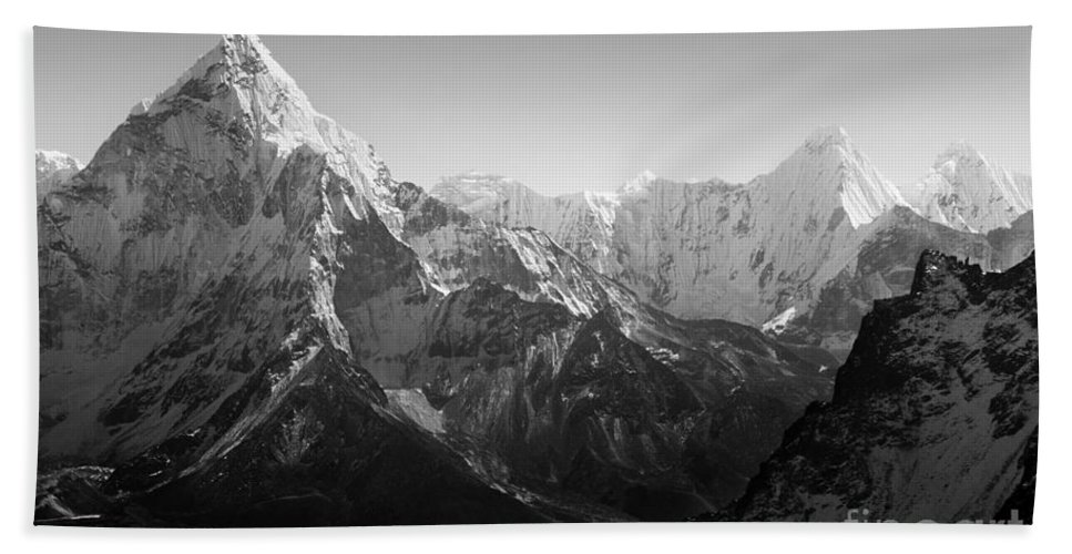 Landscape Beach Towel featuring the photograph Himalaya Mountains Black And White by Tim Hester