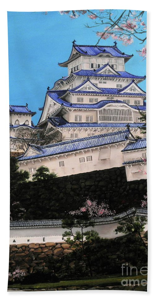 Dlgerring Beach Towel featuring the painting Himeji Castle by D L Gerring