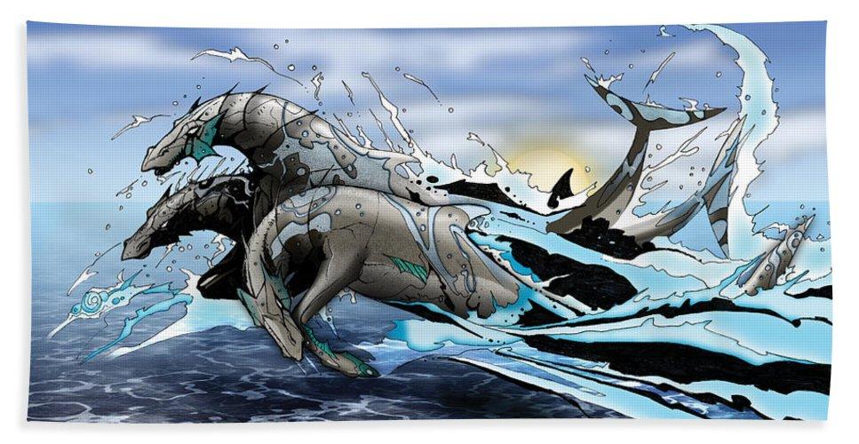 Usherwood Beach Sheet featuring the digital art Hippocampi by James Kramer