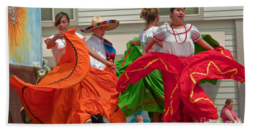 Berry Dairy Days Beach Towel featuring the photograph Hispanic Women Dancing In Colorful Skirts Art Prints by Valerie Garner