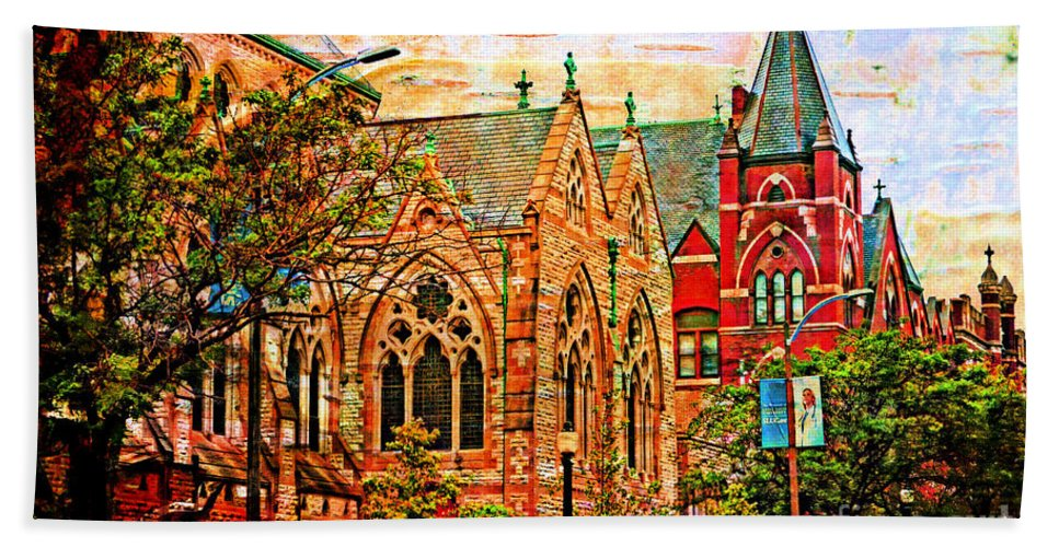 Architecture Beach Towel featuring the photograph Historic Churches St Louis Mo - Digital Effect 6 by Debbie Portwood