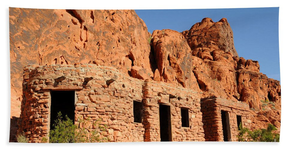 Civilian Conservation Corps Beach Towel featuring the photograph Historic Civilian Conservation Corps Stone Cabins In The Valley Of Fire by Gary Whitton